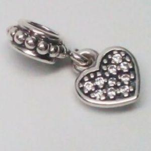 Pandora  Pave Heart Dangle Charm 791023CZ